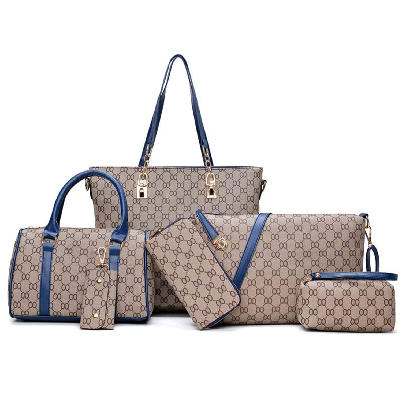 bluee Strap Women Handbags Leather Shoulder Bag Fashion Female Totes SixPiece Set