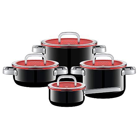 WMF Batería de Cocina, Acero Inoxidable, Negro, 4 Unidades ...