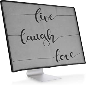 """kwmobile Monitor Cover Compatible with 24-26"""" Monitor - Dust Monitor Case Screen Display Protector - Live, Laugh, Love Black/Light Grey"""