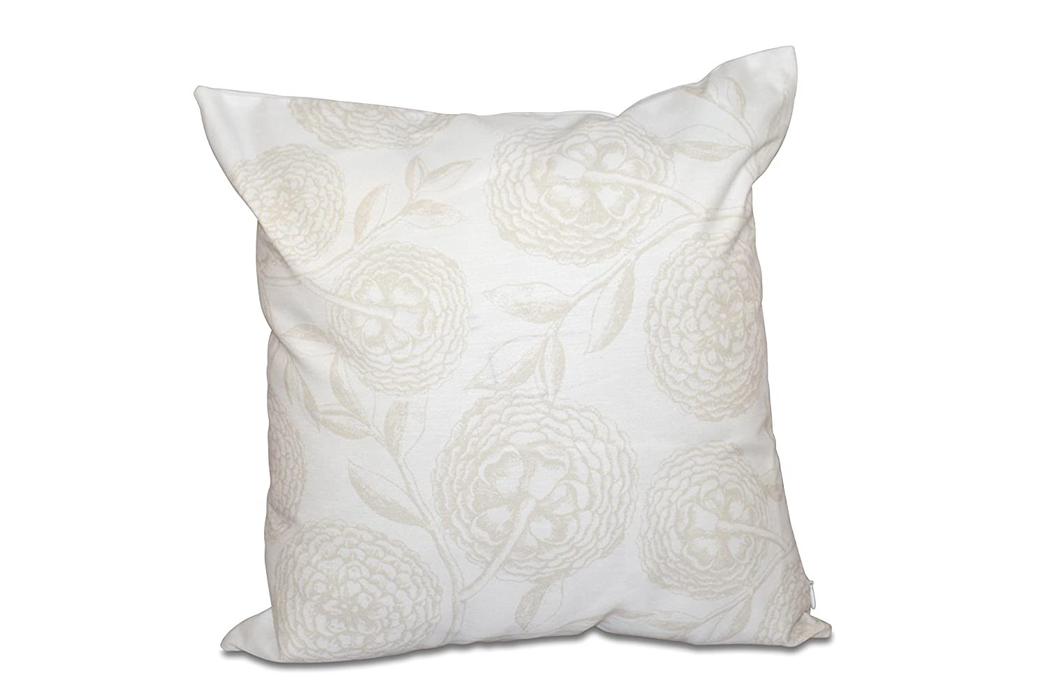 E by design PFN493WH1IV2-16 16 x 16-inch, Antique Flowers, Floral Print Pillow 16x16 White