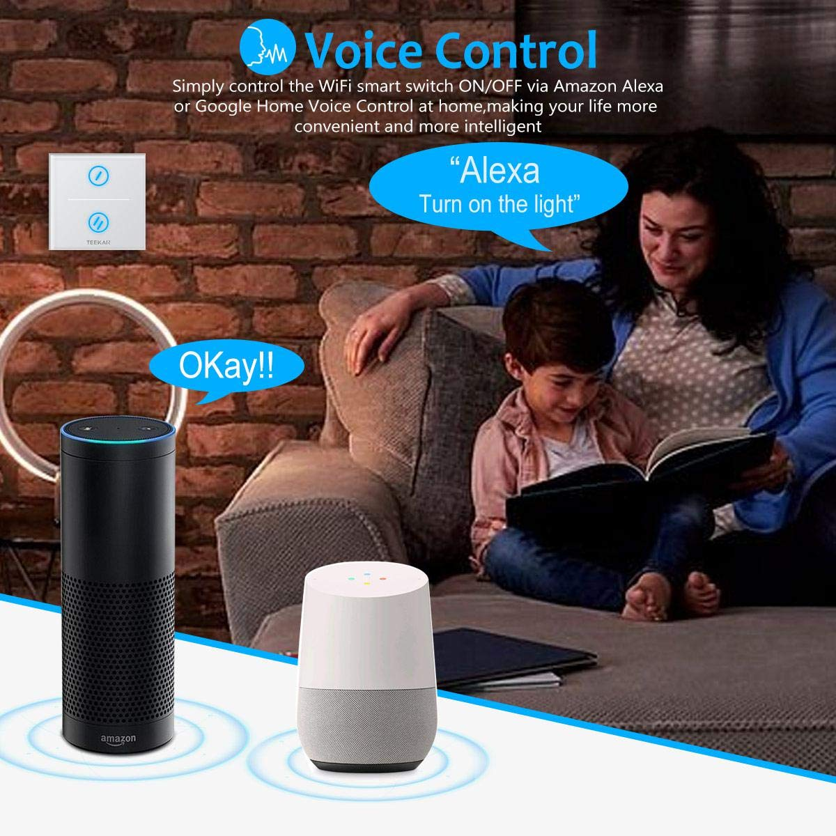 Interrupteur Tactile Avec Commande Vocale et /Éteindre la LED Faut Fil de Neutre 1Gang Interrupteur Connect/é WiFi Sans Fils Compatible avec Alexa et Google Home TEEKAR Interrupteur Mural Intelligent