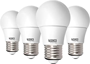 Sunco Lighting 4 Pack A15 LED Bulb, 8W=60W, 5000K Daylight, Dimmable, 800 LM, E26 Base, Refrigerator & Fan Light - UL, Energy Star