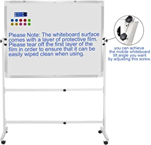 "48""x36"" Mobile Whiteboard Magnetic Dry Erase Board on Wheels Adjustable Height and Angle Portable Rolling White Boards for School, Office, Home"