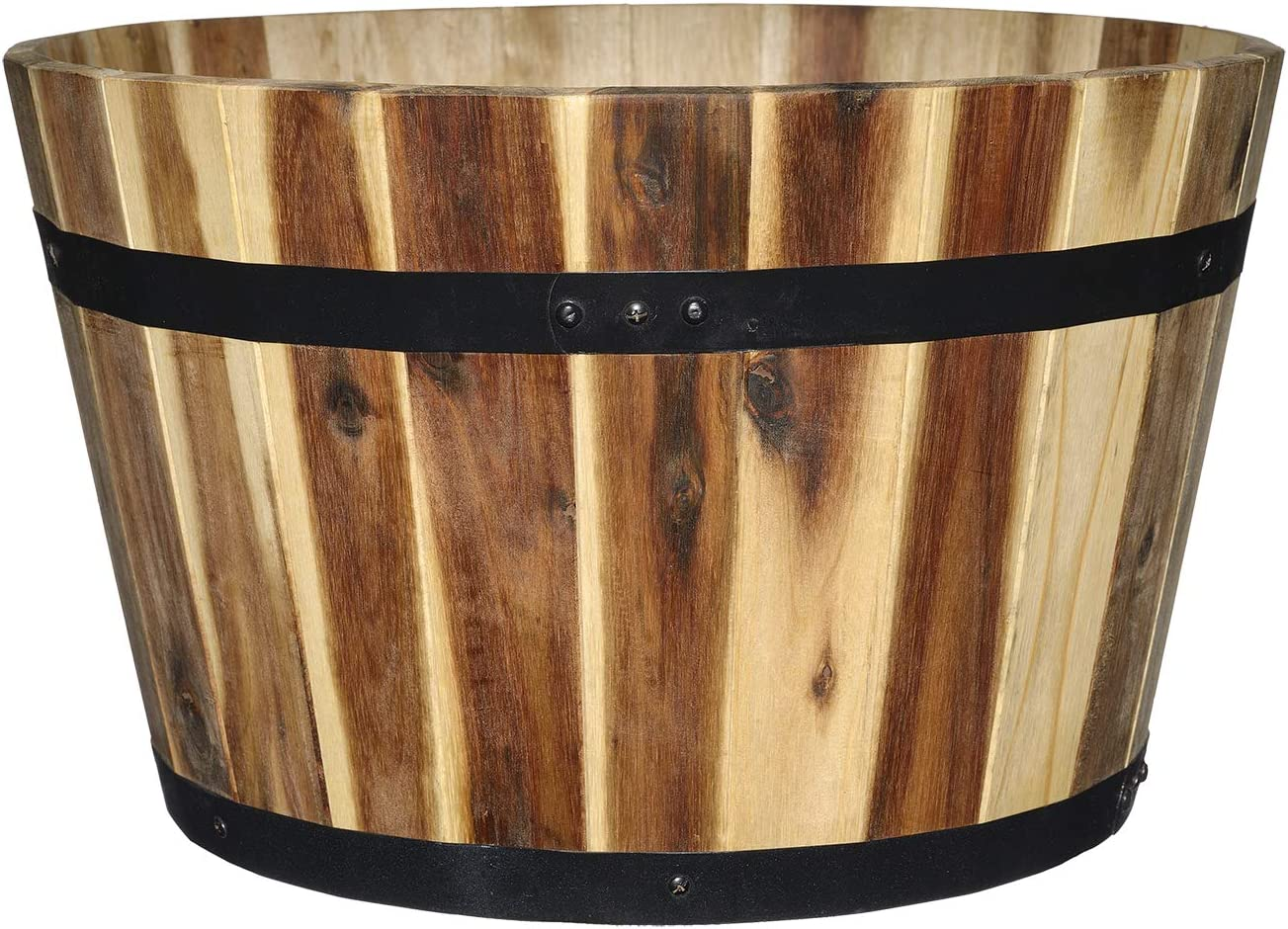 """Whiskey Barrel Planters Outdoor Pot Classic Home And Garden 15/"""" Distressed Oak"""