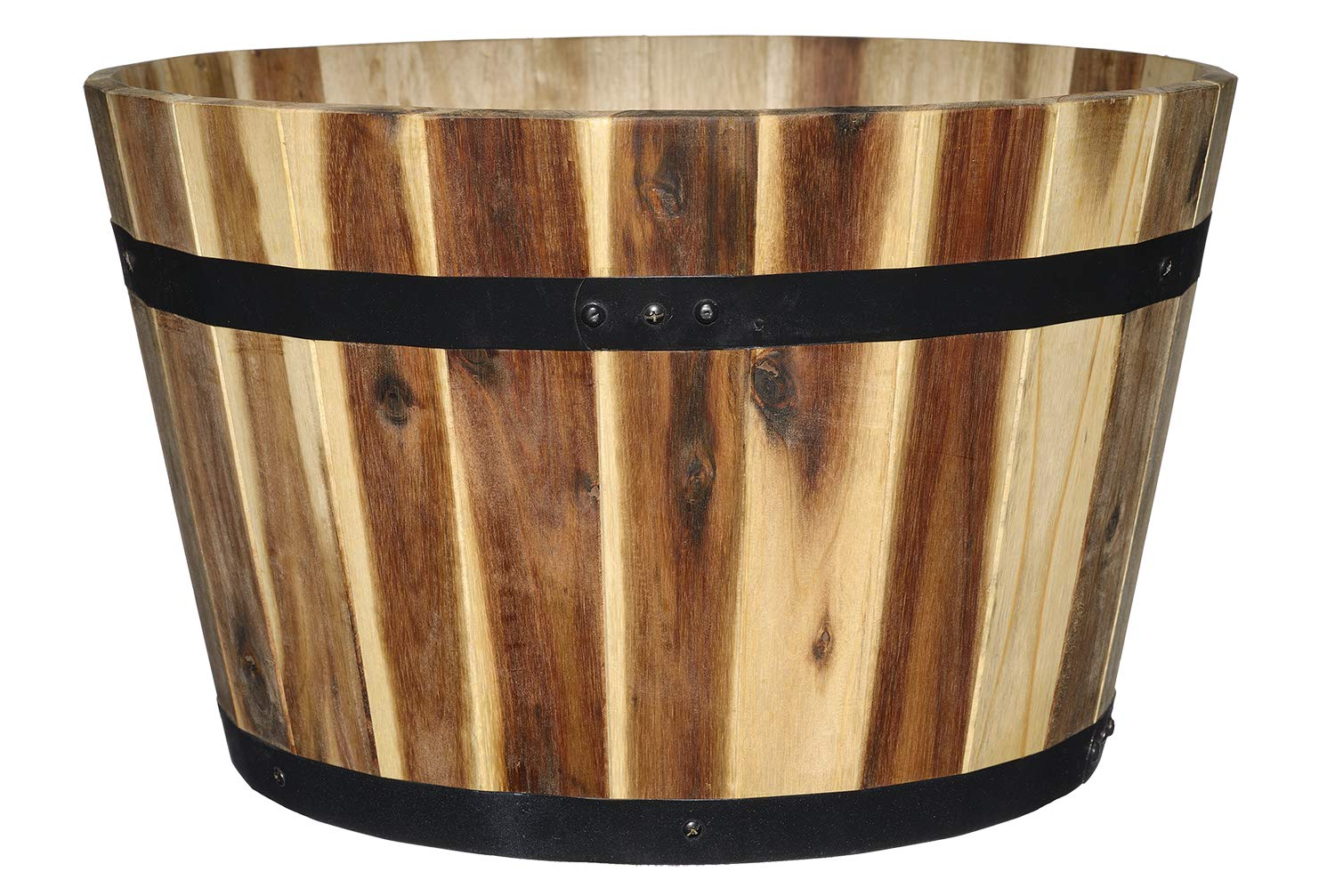 """Classic Home and Garden 110025 16"""" Whiskey Barrel Planter, 1 Pack, Acacia"""