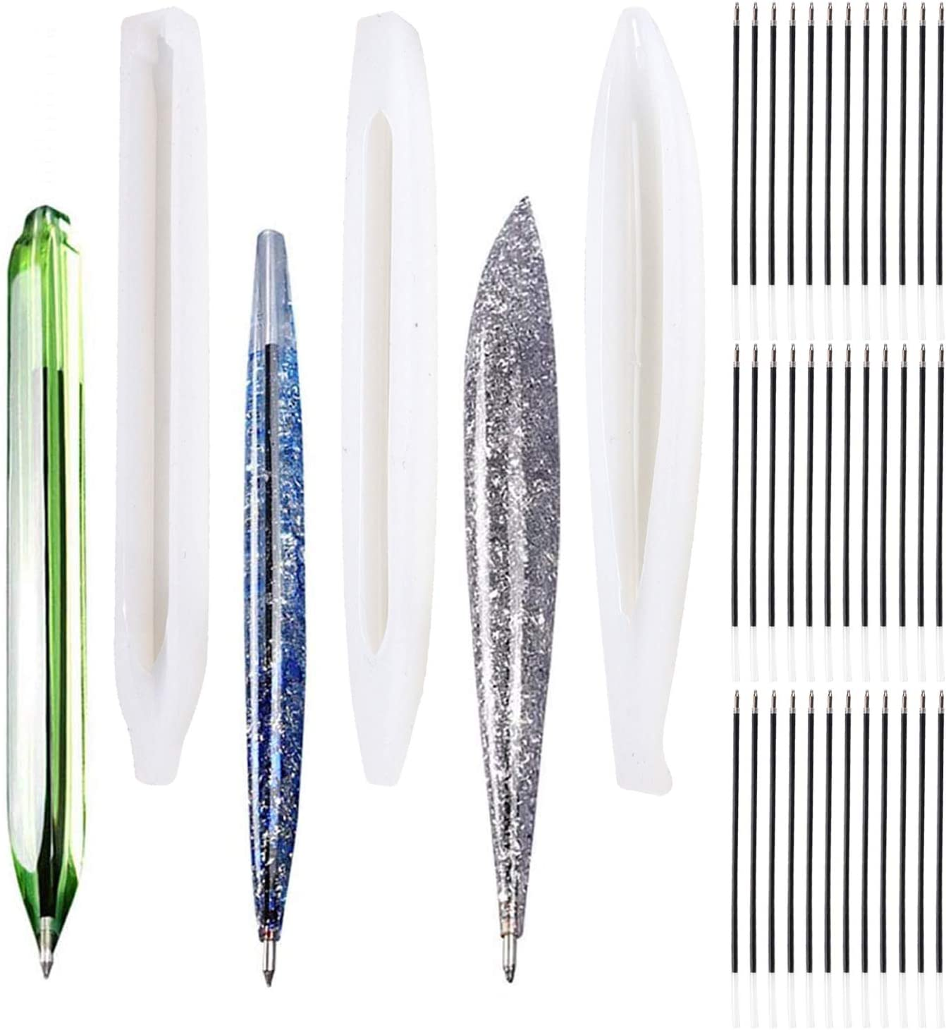 6 Pieces Pen Shape Resin Molds Cylinder Shaped Epoxy Casting Molds Ballpoint Pen Silicone Molds for DIY Pen Candle with 75 Pieces Ballpoint Refill Pens for Teacher Student Gift