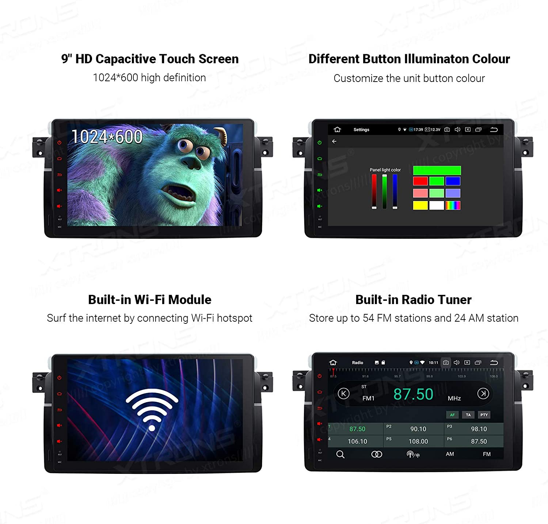 XTRONS Android 10 Autoradio 4G RAM 32G ROM Octa Core GPS-Navigation mit 9-Zoll-Touchscreen-Unterst/ützung CarAutoPlay Bluetooth 5.0 WiFi MirrorLink DAB f/ür BMW//Rover//MG