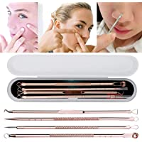4PC Blackhead Whitehead Pimple Spot Comedone Acne Extractor Remover Popper Tool Kit Rose Gold Stainless Steel with Case