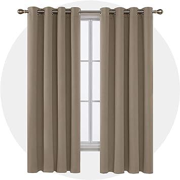 Deconovo Vorhang Blickdicht Ösen Verdunkelung Vorhänge Schlafzimmer  Thermogardine 175x140 cm Taupe 2er Set