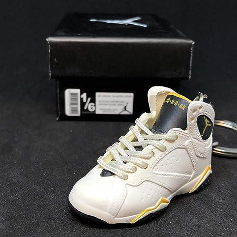 best website 0667f 4e94f Amazon.com   Air Jordan VII 7 Retro Maize Yellow White OG Sneakers Shoes 3D  Keychain 1 6 Figure + Shoe Box   Everything Else