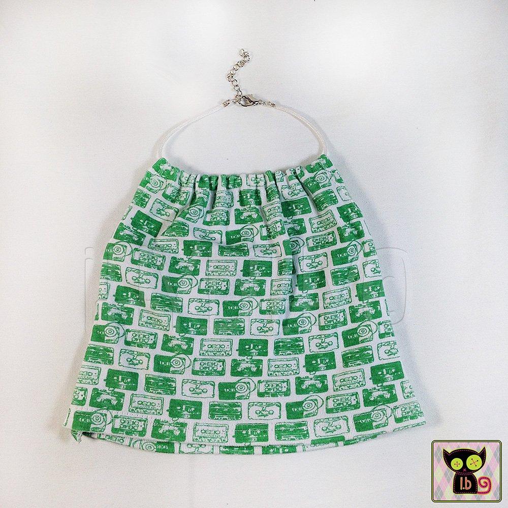 Green /& White Cassette Print Knit Halter Top for 18 Inch Dolls