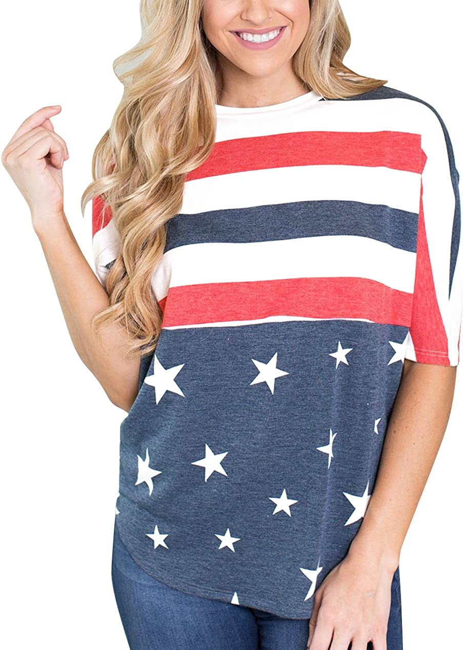 For G and PL July 4th Women's American Flag Patriotic T Shirt Tops