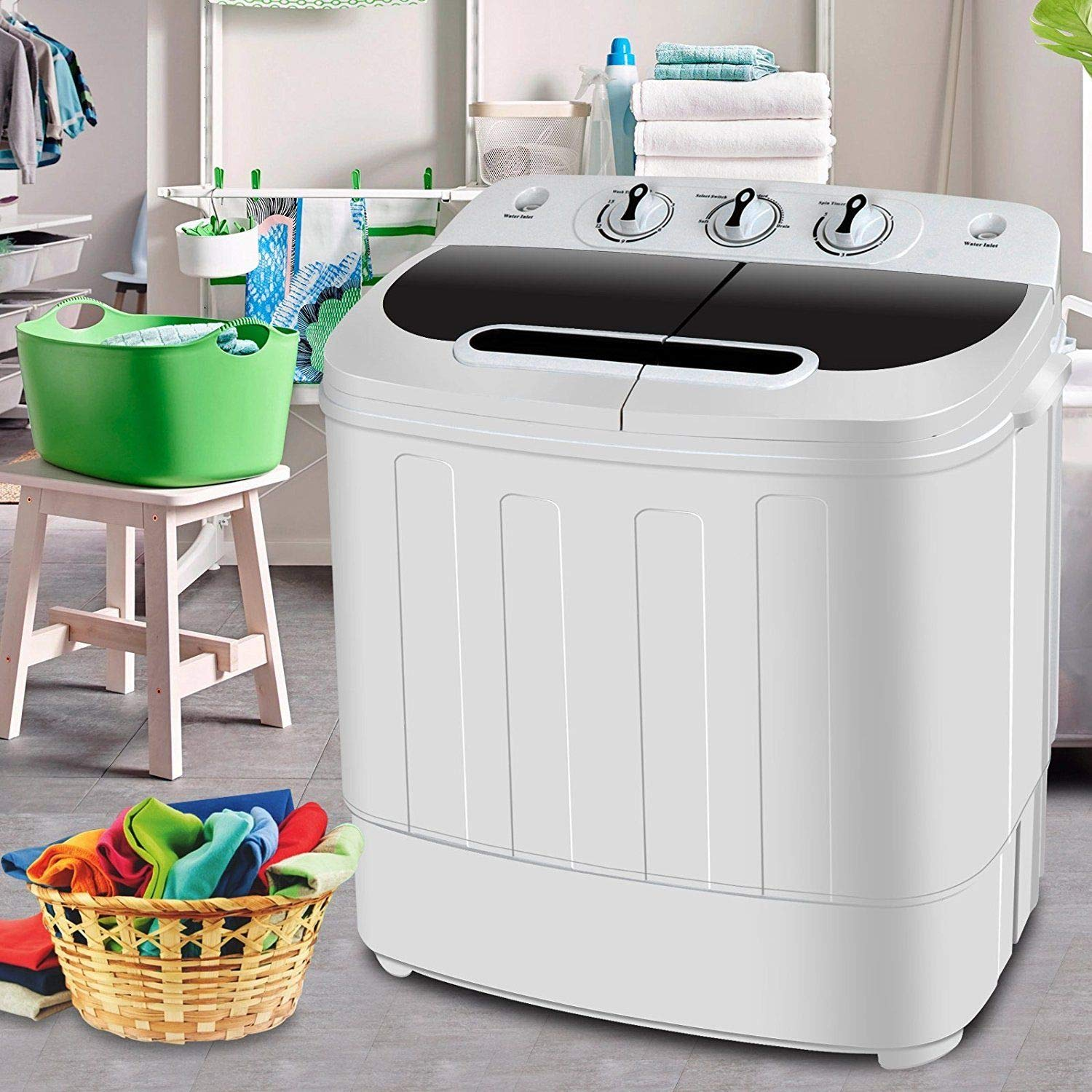 White Top Load Mini Compact Electric Portable Washing Machine Twin Tub 13lb Washer Spin Cycle & Dryer Dual Function Condos Camping Dorm Durable Plastic Lightweight Space-Saving Clothes Laundry