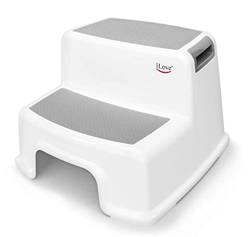 Wide+ 2 Step Stool for Kids   Toddler Stool for Toilet Potty Training   Slip Resistant Soft Grip for Safety as Bathroom Potty Stool and Kitchen Step Stool  ...