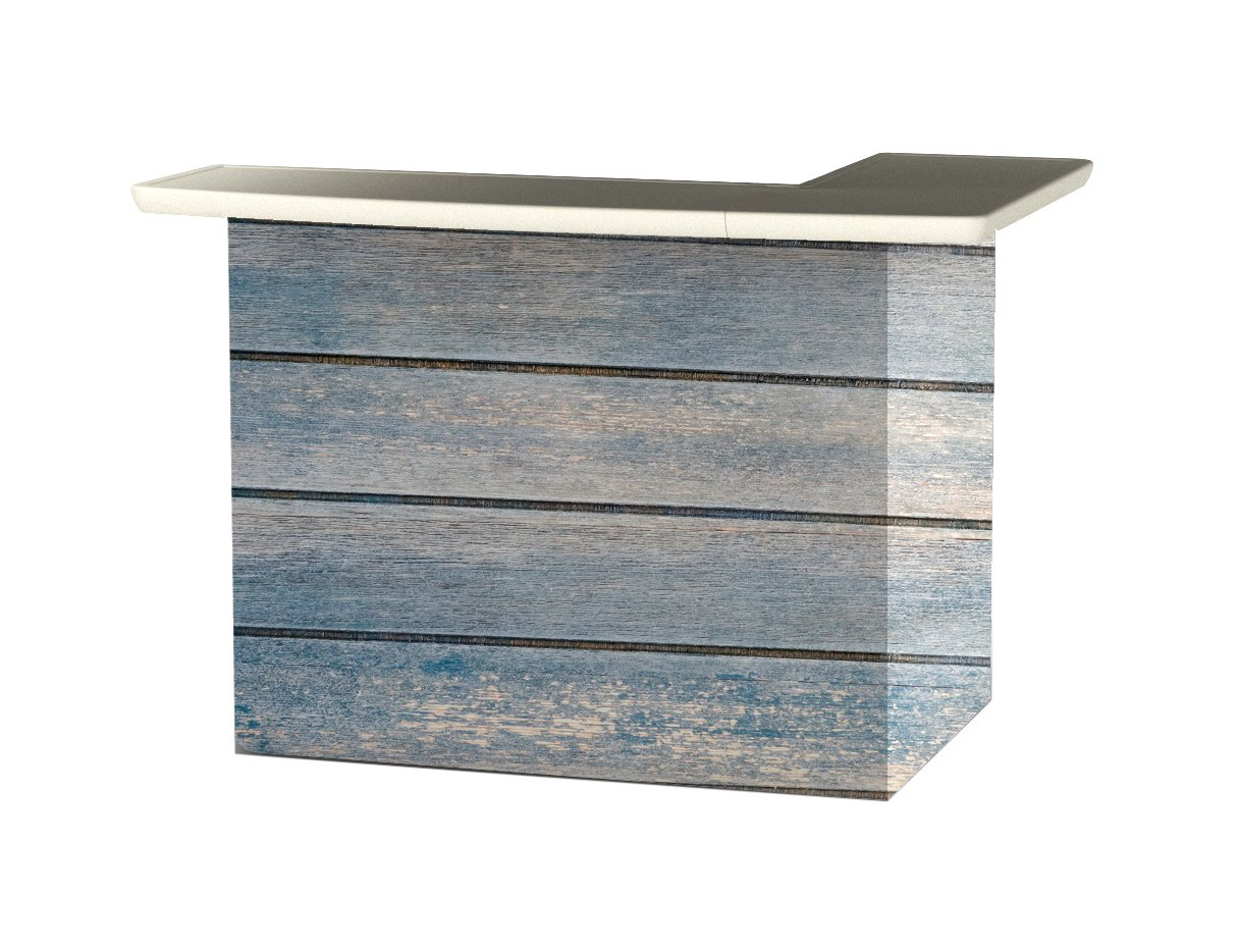 One Size Best of Times 2000W2400 Blue Wood Horizontal Portable Patio Bar Table L-Shaped
