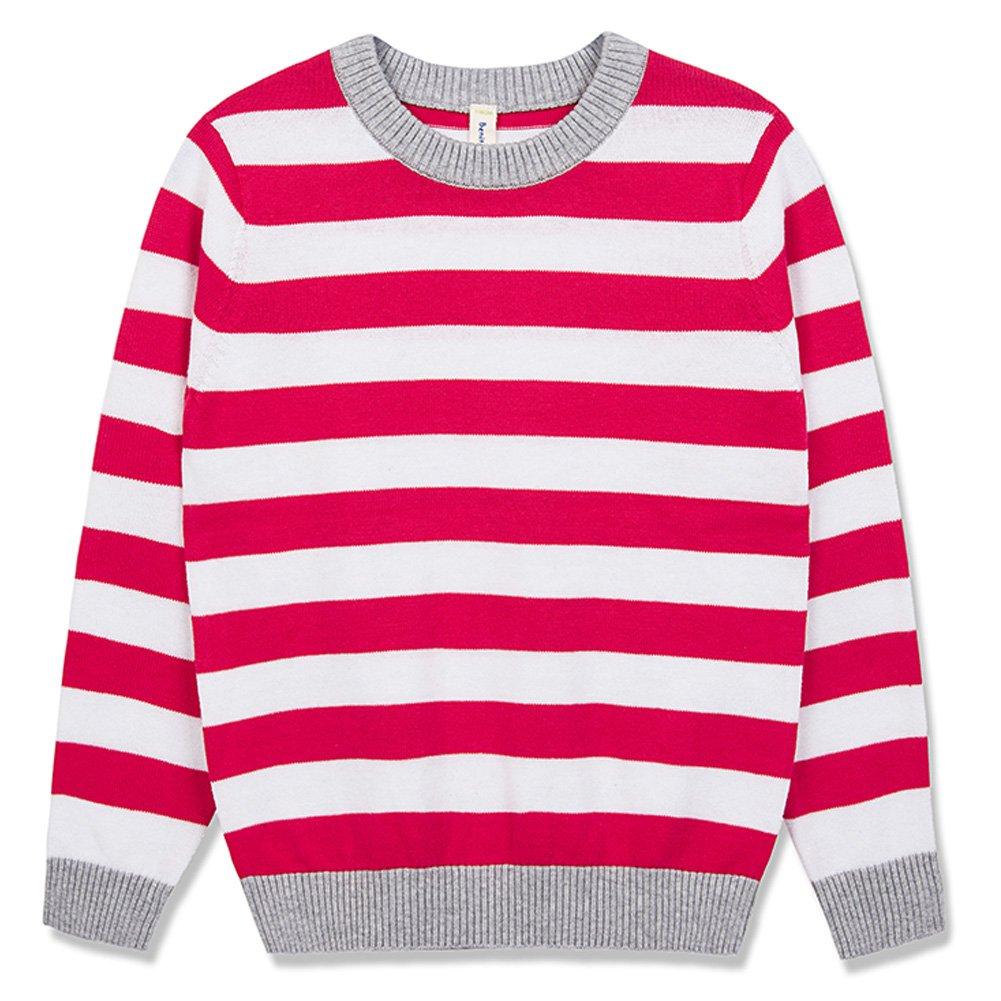 Benito & Benita Girl's Pullover Sweater Crew Neck Cotton Sweater Casual Style Stripes Girls Cherry 3-12Y
