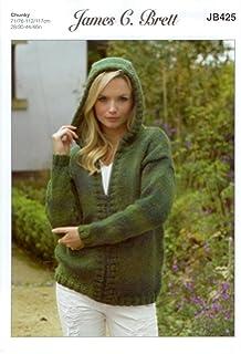 635440149105e James C Brett JB425 Knitting Pattern Womens Hooded Cardigan in Marble  Chunky Glamour