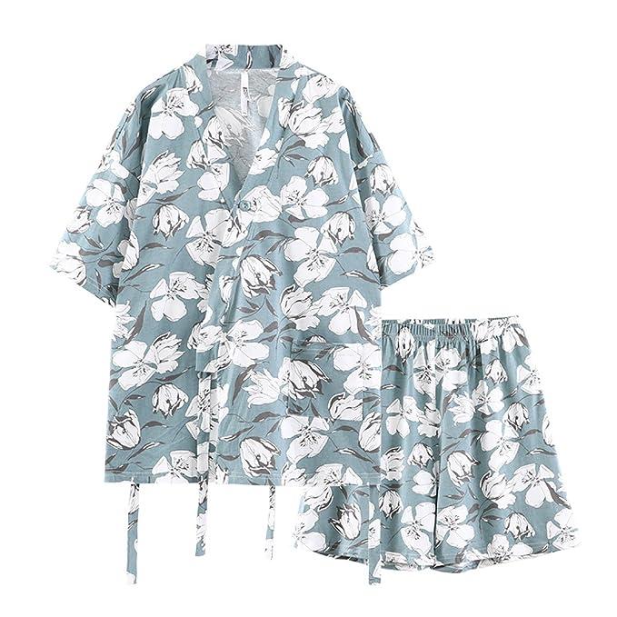 GSHGA De Mujeres Pijama De Algodón Japonesa Pijamas De Las Señoras Suelto De Manga Corta De