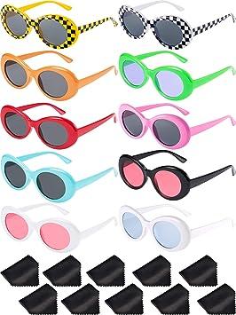 Blulu 10 Pares de Gafas de Sol Lentes Redondos Marco Grueso Retro Clout  Oval Mod 10 5a2dd53748db