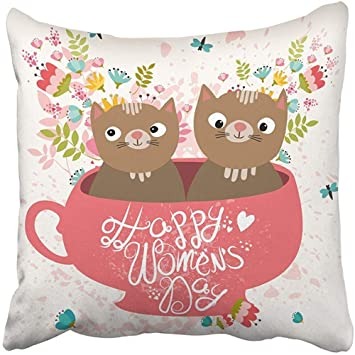 Staroutah Throw Pillow Cover 18 quot X18 quot  Decorative Polyester Animal  Happy Women s Day Two Cute fcfe21ad68