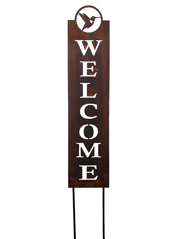 エレガントな24インチHummingbird Welcomeガーデンデザイン、Rusty Patina B00MG4YLSK