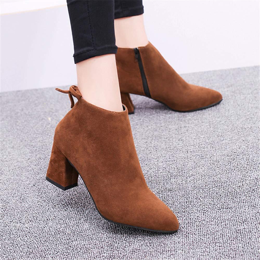 Qiusa High Heels Thick mit spitzem, kurzem Schlauch Schlauch Schlauch Martin Stiefel Wildleder Wildleder Stiefel (Farbe   Coffee Farbe, Größe   36) 6bd51a