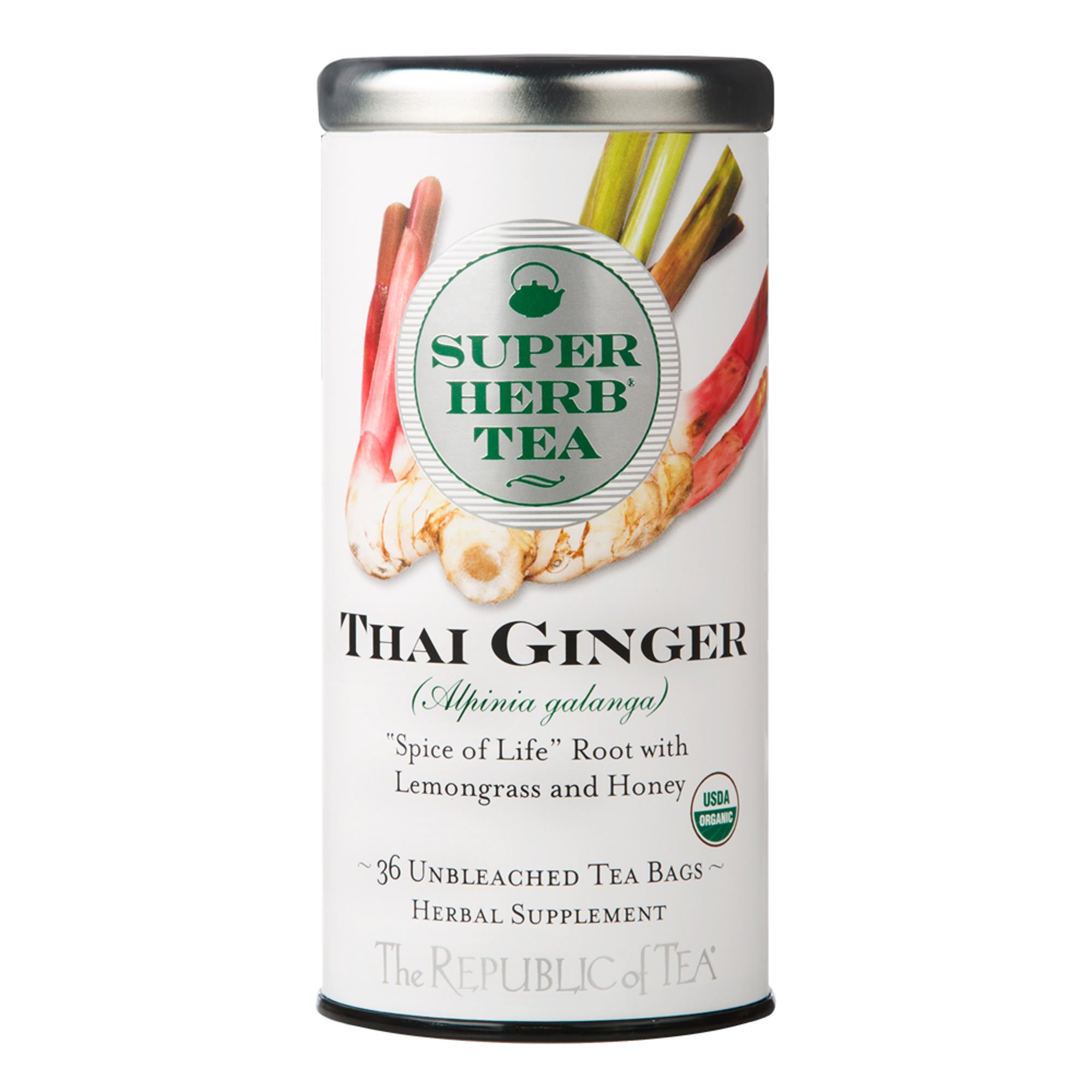 The Republic Of Tea Organic Thai Ginger Superherb Tea, 36 Tea Bags, Galangal Lemongrass Tea