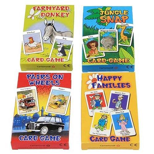Cartamundi Lot de 4 jeux de cartes assortis enfants Farmyard Donkey, Happy Families, Jungle Snap Pairs On Wheels