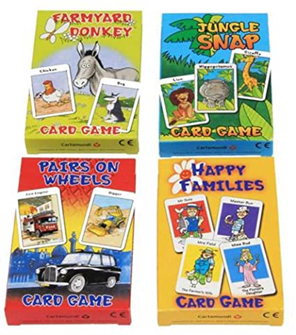 CartaMundi Four Assorted Kids Card Games - Farmyard Donkey, Happy Families, Jungle Snap & Pairs On Wheels