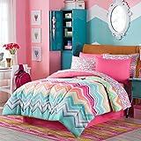 Happy Chevron Rainbow Girls Teen Comforter + Sham + 100% COTTON Sheet Set + Bedskirt and Home Style Brand Sleep Mask (Piece Bedding Bundle) (Full)