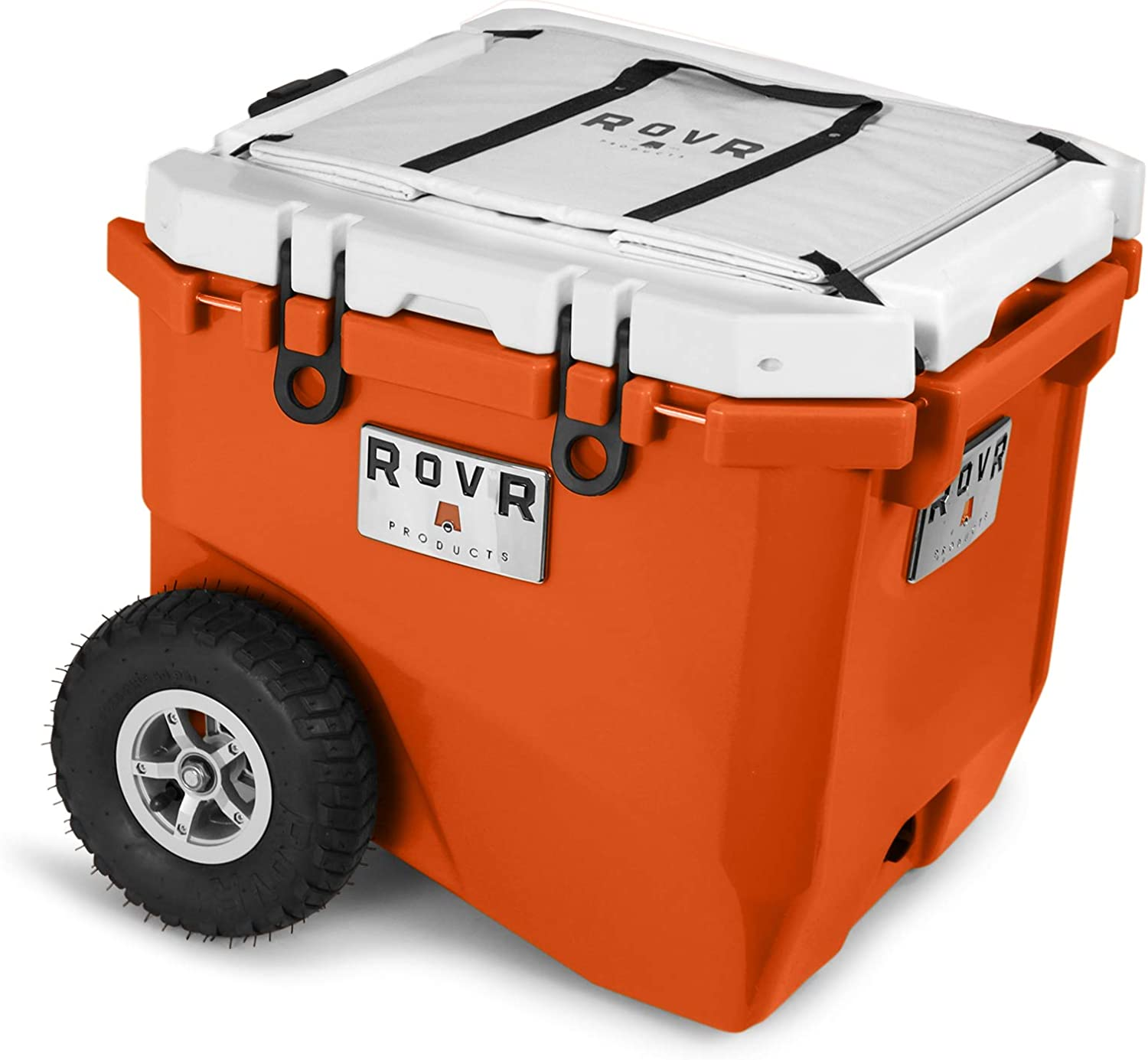 RovR Wheeled Camping Rolling Cooler with Wheels 45 qt Desert Orange