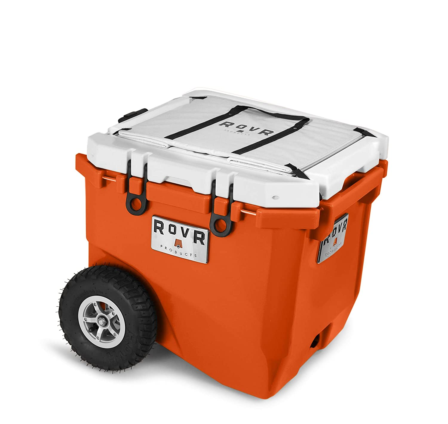 RovR Wheeled Camping Rolling Cooler with Wheels 45 qt (Desert Orange)