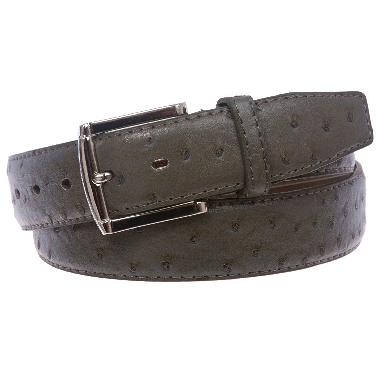 BBBelts Women 1-1/2'' Brown Ostrich Skin Real Bonded Leather Silver Buckle Belt,Olive Grey M 34-36