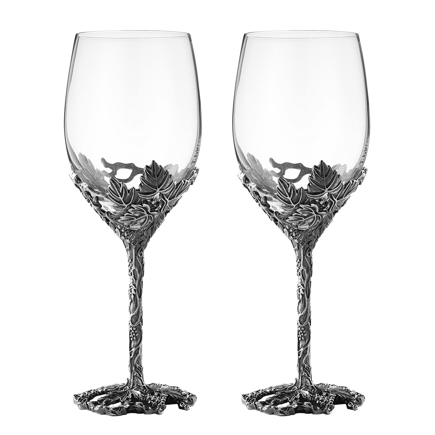 12oz Wine Glasses Set of 2, Hand Blown Crystal Wine Glasses Made of Lead-free Glass and Enamels