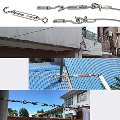 304 Stainless Steel for Sun Shade C to O Fits Turnbuckle Tent Awning Installation Anti-Rust Pack of 2 NUZAMAS M14 Hook /& Eye Hardware Kit for Wire Rope Tension Heavy Duty
