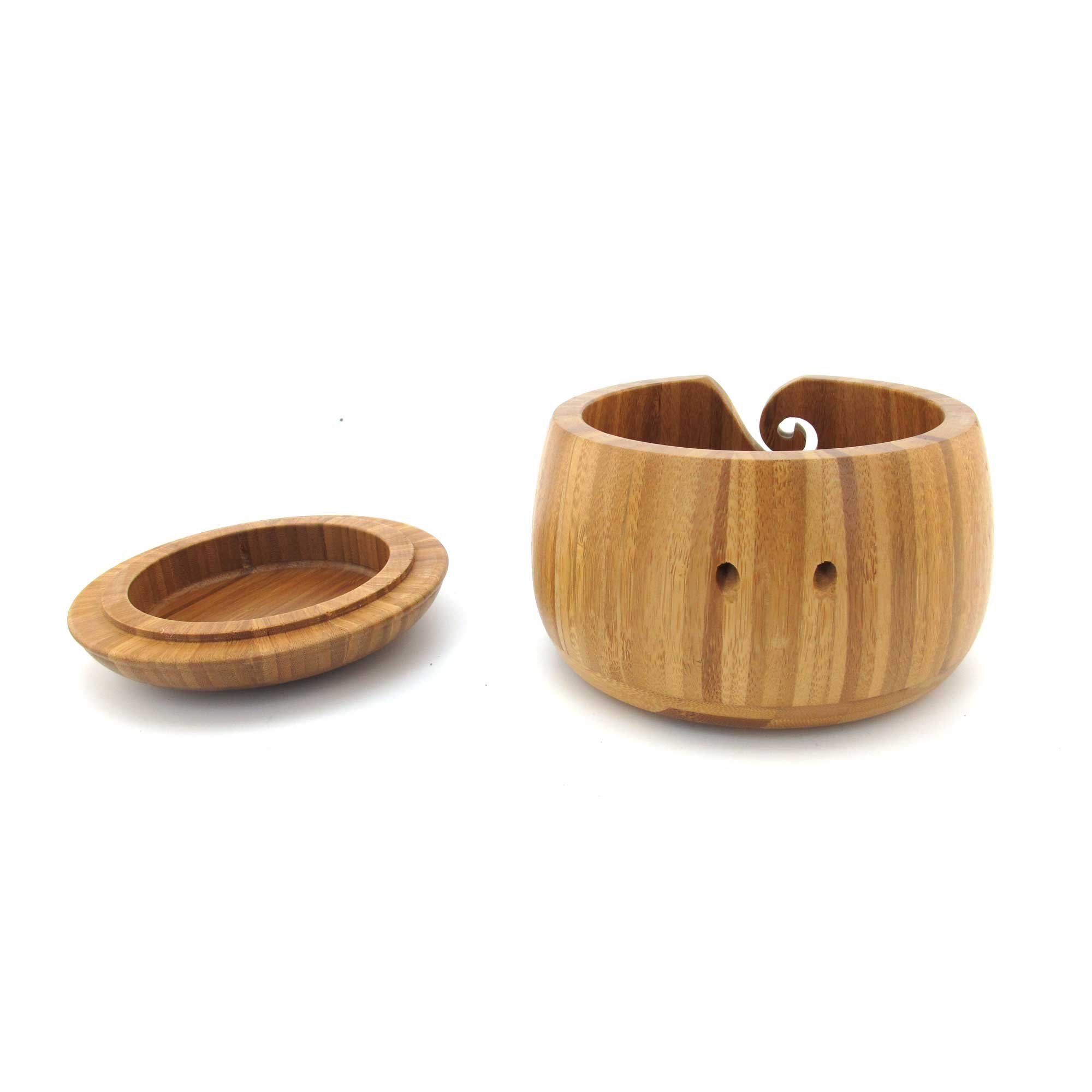 BambooMN Brand - Bamboo Yarn Bowl with Removable Lid -Yarn Holder for Knitting and Crochet - Carbonized Brown Bowl - 3 Pieces by BambooMN (Image #3)