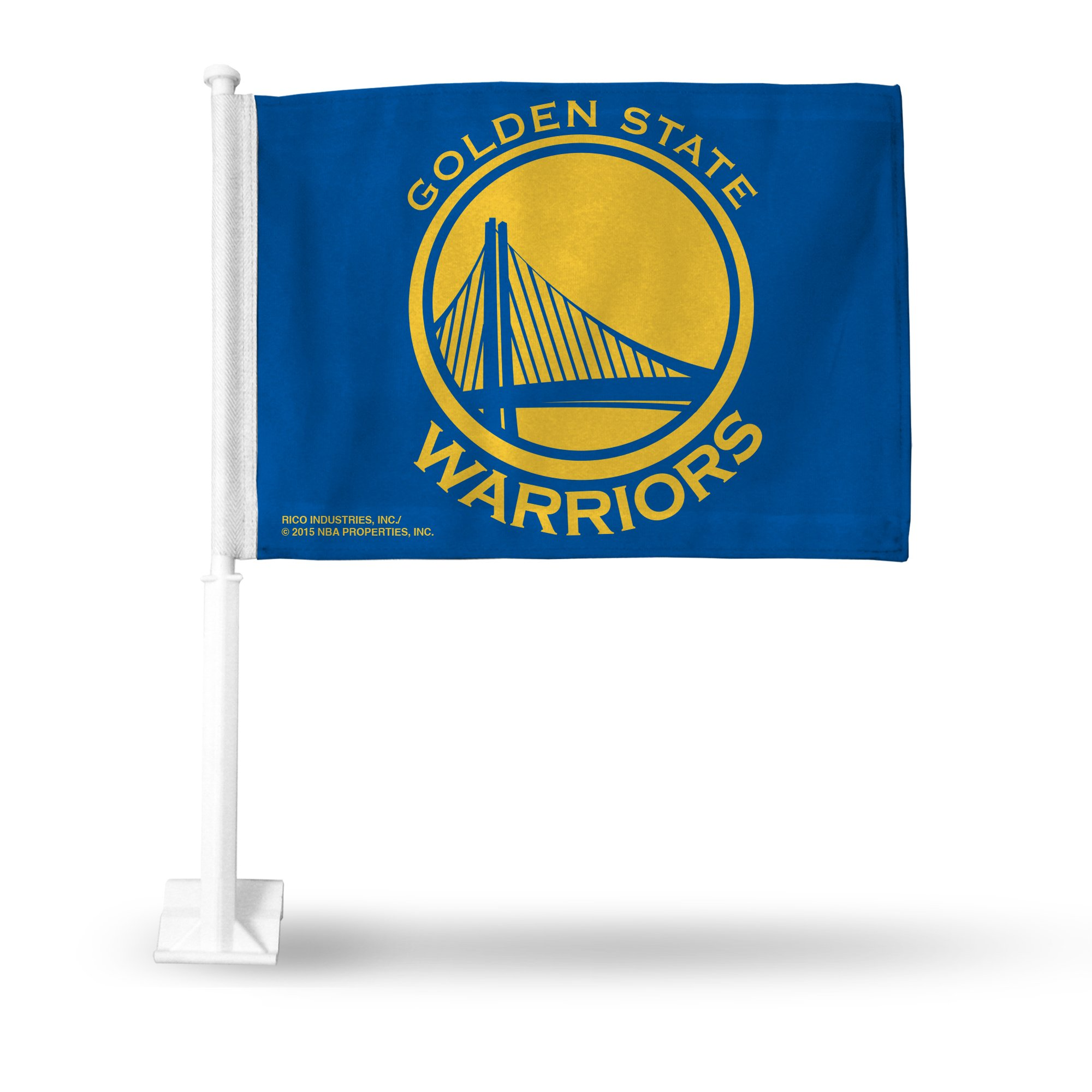 Rico NBA Golden State Warriors Car Flag, Blue, with White Pole