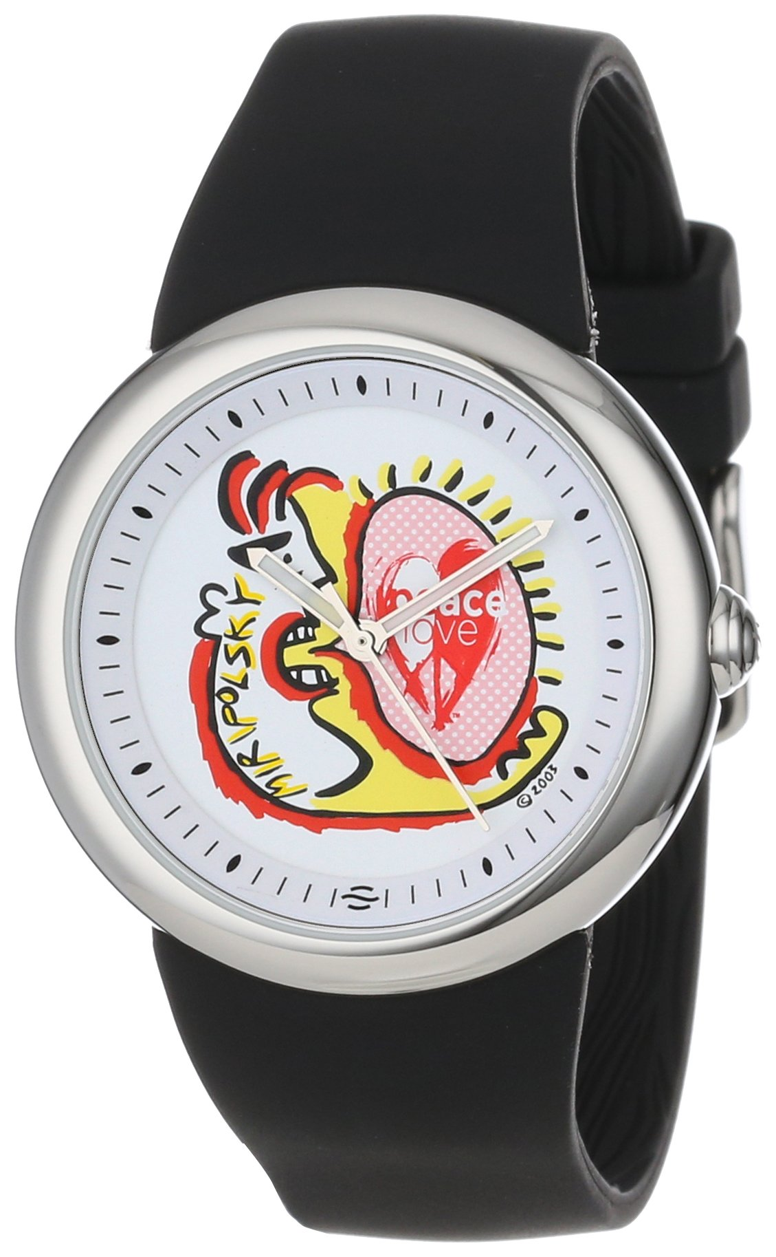 PeaceLove Unisex F36S-PL-B  Round Stainless Steel Black Silicone Strap and ''Miripolsky'' Art Dial Watch