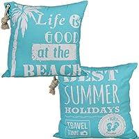 Bada Bing 2er Set Kissen Beach Summer mit Kordel türkis blau weiß