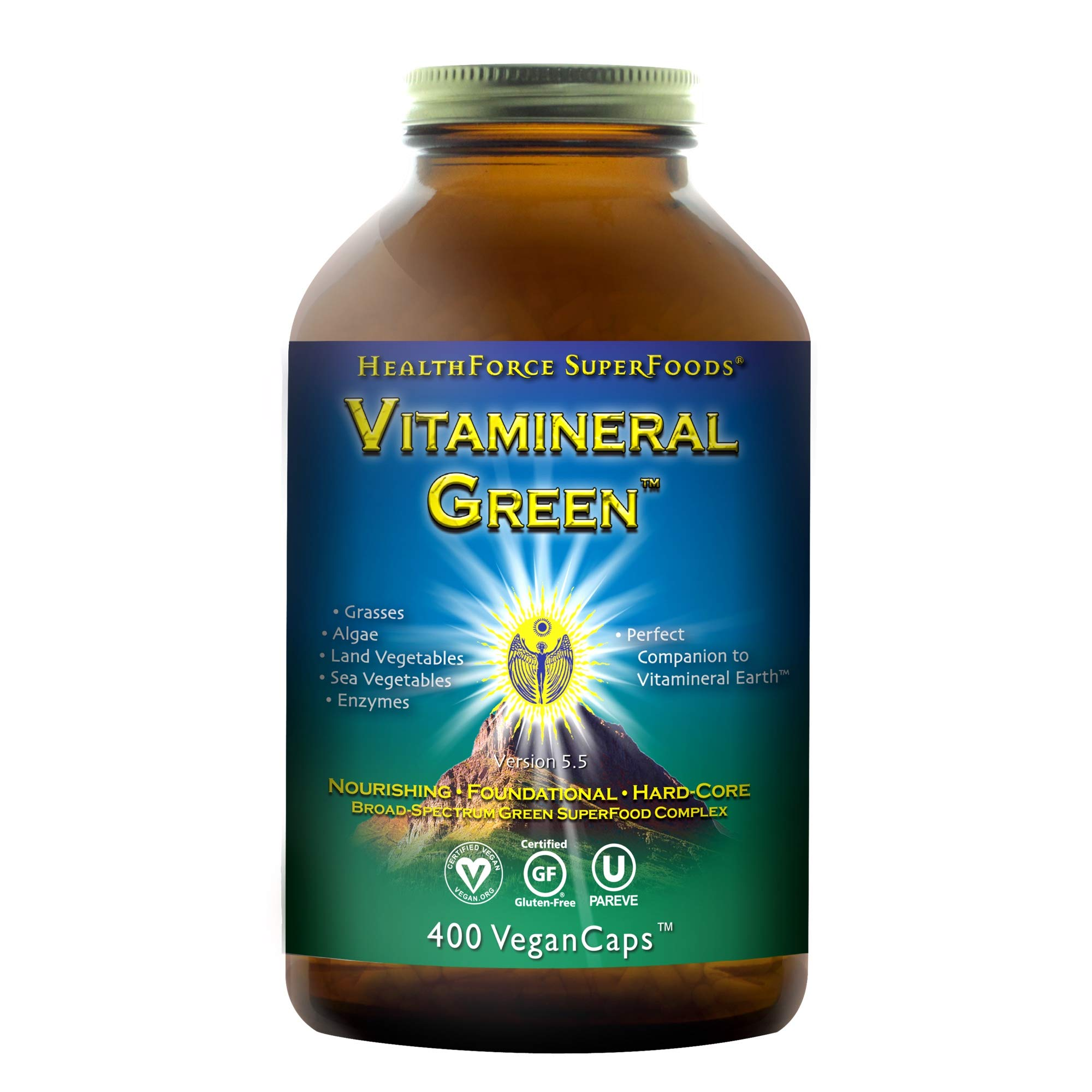 HealthForce SuperFoods Vitamineral Green - 400 Vegan Capsules - All Natural Green Superfood Complex with Vitamins, Minerals, Amino Acids & Protein - Vegan, Gluten Free - 50 Servings by HEALTHFORCE SUPERFOODS