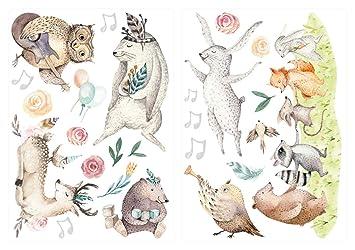 Wandtattoo Kinderzimmer Deko Aquarell Wandtattoo Waldtiere Musik Tiere Noten