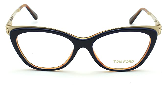 61f6bcd4ddd Amazon.com  Tom Ford FT5374 Metal Cat Eye Women Eyeglasses (Shiny Blue  Frame 090
