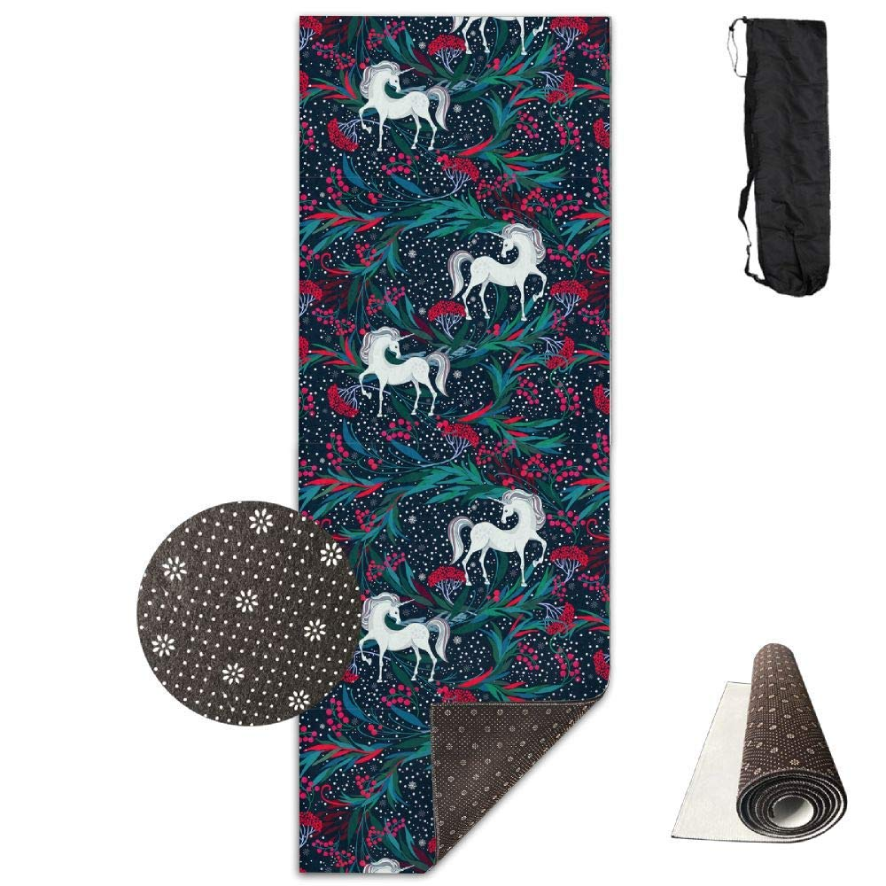 Fairy Magic Unicorns Christmas Plants Berries Yoga Mat Towel for Bikram Hot Yoga, Yoga and Pilates, Paddle Board Yoga, Sports, Exercise, Fitness Towel