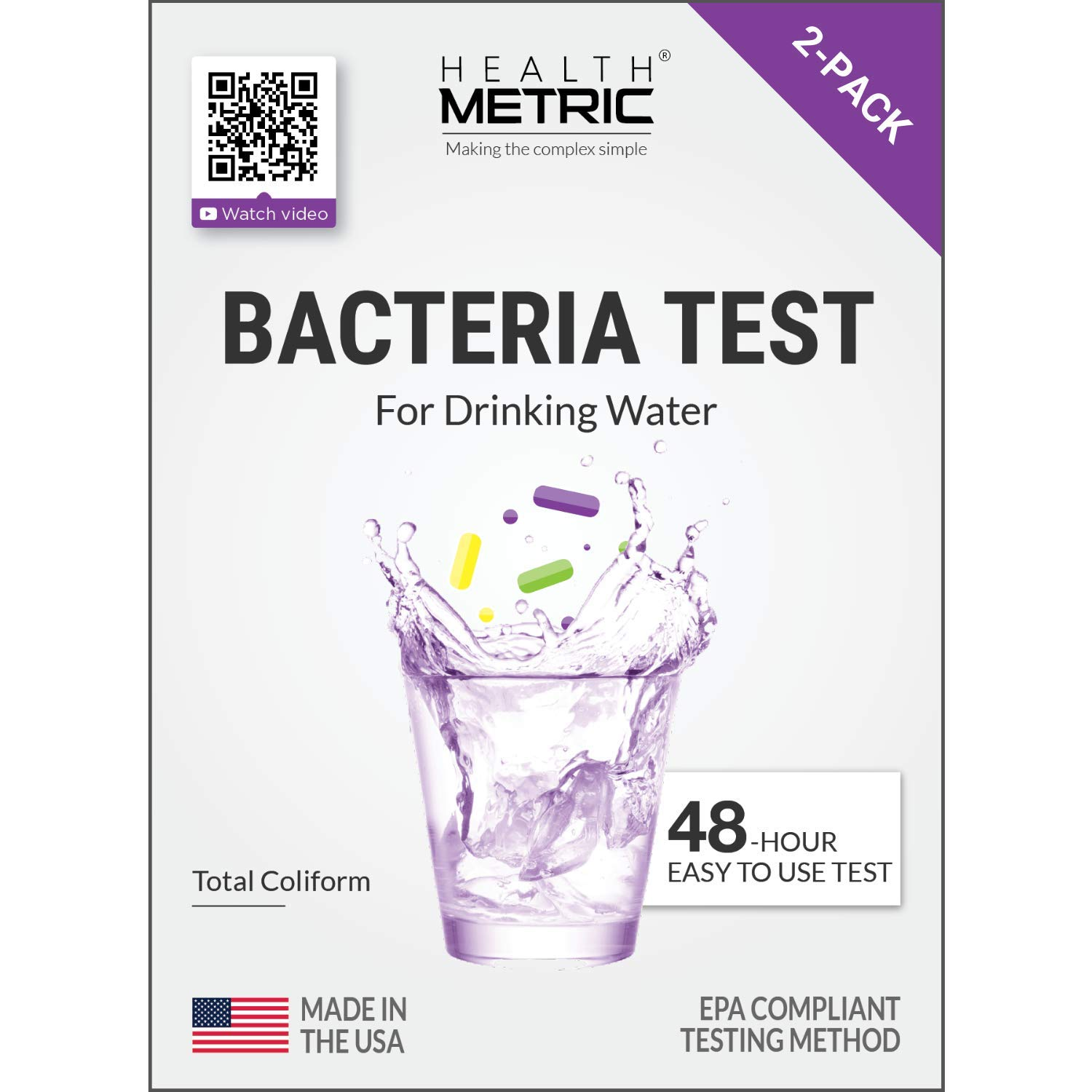 Coliform Bacteria Test Kit for Drinking Water - Easy to Use 48-Hour Water Quality Testing Kit for Home Tap & Well Water   EPA Approved Testing Method   Made in The USA   Incl. E Coli   2-Pack by Health Metric