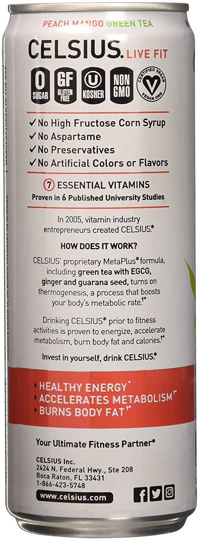 Celsius Celsius – Peach Mango Green Tea, 12-12 fl oz 355mL Cans
