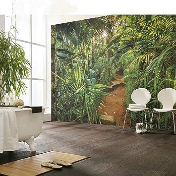 Cucsaistat Papier Peint Mur Vegetal Jungle Paysage Papier Peint