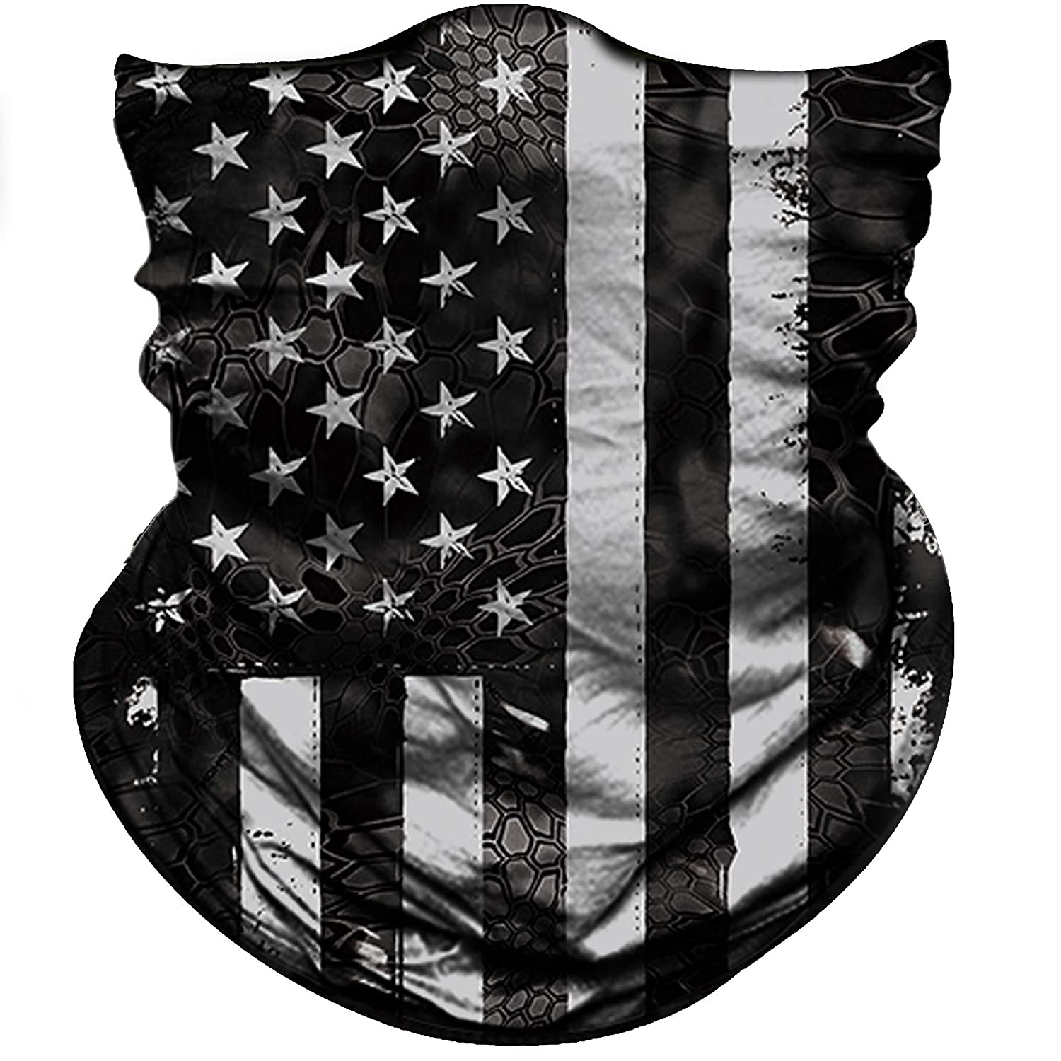 Obacle Camo US Flag Half Face Mask for Hunting Fishing Motorcycle Running Outdoor Sports Sun Dust Wind Protection Durable Lightweight Thin Breathable Seamless Tube Mask for Men Women Many Patterns