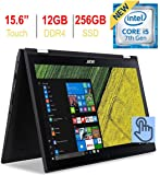 Acer Spin 3 15.6in Touchscreen FHD (1920x1080) IPS 2-in-1 Convertible Laptop PC, Intel i5-7200u 2.50GHz, 12GB DDR4, 256GB SSD Windows 10 (Renewed)