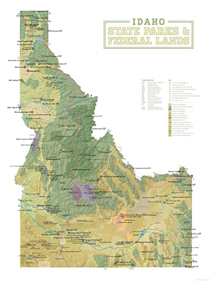 Amazon.com: Idaho State Parks & Federal Lands Map 18x24 Poster (Sage ...