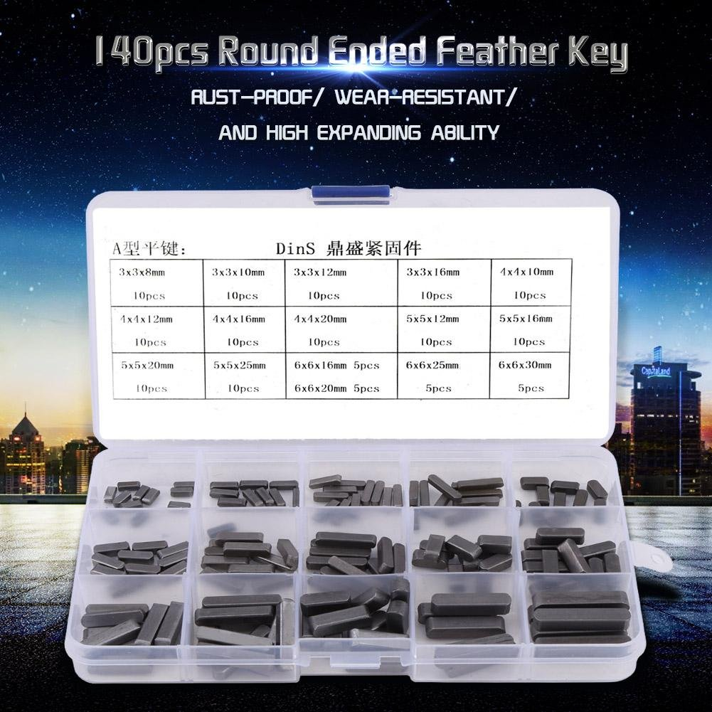 Pack of 140 Round Ended Feather Key Set 8mm-30mm Stainless Steel Key Stock Assortment Parallel Drive Shaft Keys Set